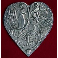 Pewter Hanging Bird Heart