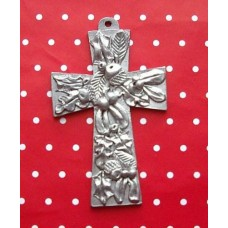 Pewter Leaf Cross Decoration